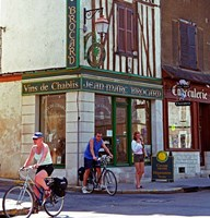 Wine Shop and Cycling Tourists, Chablis, France Fine Art Print