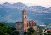 Church in Village of Patrimonio, Corsica, France Fine Art Print