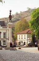 Main Square with Statue, Tokaj, Hungary Fine Art Print