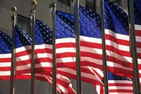 US Flags in Rockefeller Plaza, New York Fine Art Print