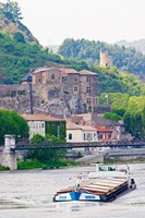 Chateau de Tournon, River Rhone and Pedestrian Bridge M Seguin, Tournon-sur-Rhone, Ardeche, France Fine Art Print