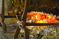 Fireplace with a Burning Log on a Truffle Farm Fine Art Print