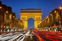 Champs Elysee with Arc de Triomphe at Twilight Fine Art Print