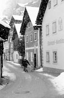 Snowy Street in Hallstat, Austria Fine Art Print