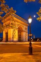Twilight at Arch de Triomphe, France Fine Art Print
