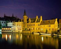 The Rozenhoedkaai at Night, Bruges, Belgium Fine Art Print