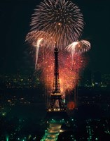 Fireworks, Eiffel Tower, Paris, France Fine Art Print