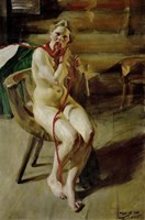 Nude Braiding Her Hair, 1907 Fine Art Print