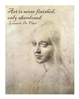 Art is Never Finished -Da Vinci Quote Fine Art Print
