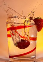 Strawberry Splash In Red Swirl Glass I Fine Art Print