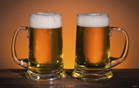 Beer Mug Duo On Bar Fine Art Print