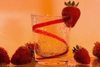 Strawberries And Red Swirl Glass Fine Art Print