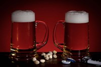 Beer Mugs And Pistachio Nuts Fine Art Print