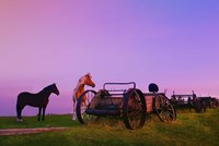 Purple Dawn And Wagons Fine Art Print