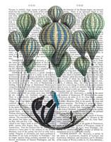 Penguin in Hammock Balloon Framed Print