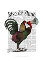 Rooster With Loudhailer Framed Print