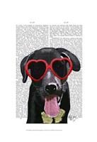 Black Labrador With Heart Sunglasses Fine Art Print
