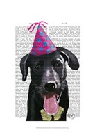Black Labrador With Party Hat Fine Art Print