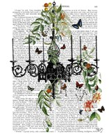 Chandelier With Vines and Butterflies Fine Art Print