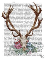 Deer Skull With Flowers 1 Fine Art Print