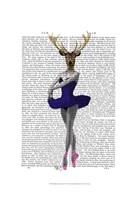 Ballet Deer in Blue I Framed Print