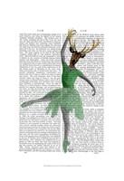 Ballet Deer in Green I Framed Print