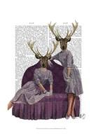 Deer Twins in Purple Framed Print