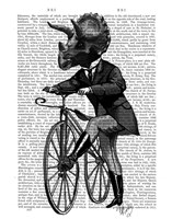 Triceratops Man on Bike Dinosaur Fine Art Print