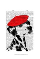 Dalmatian With Red Beret Fine Art Print