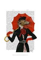 Elegant Greyhound and Red Umbrella Framed Print