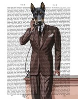 Doberman on Phone Fine Art Print