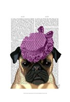 Pug with Vintage Purple Hat Fine Art Print