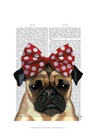 Pug with Red Spotty Bow On Head Fine Art Print