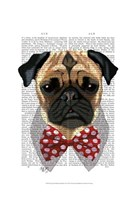 Pug with Red Spotted Bow Tie Fine Art Print