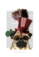 Pug with Steampunk Style Top Hat Fine Art Print