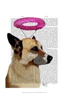 German Shepherd With Pink Halo Framed Print