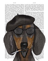 Hipster Dachshund Black and Tan Fine Art Print