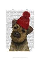 Border Terrier with Red Bobble Hat Framed Print