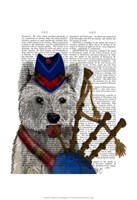West Highland Terrier and Bagpipes Framed Print