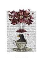 Blackbird In Teacup Framed Print