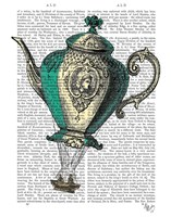 Flying Teapot 1 Green and Yellow Framed Print