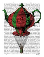 Flying Teapot 2 Red and Green Fine Art Print