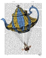 Flying Teapot 3 Blue and Yellow Fine Art Print