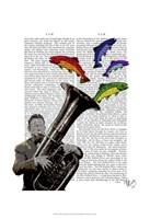 Tuba And Fish Framed Print