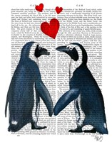 Penguins With Love Hearts Fine Art Print