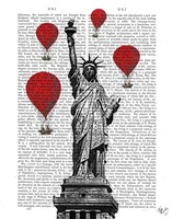 Statue Of Liberty and Red Hot Air Balloons Fine Art Print