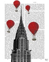 Chrysler Building and Red Hot Air Balloons Fine Art Print