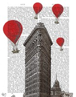 Flat Iron Building and Red Hot Air Balloons Fine Art Print
