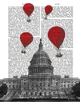 US Capitol Building and Red Hot Air Balloons Fine Art Print