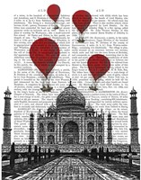 Taj Mahal and Red Hot Air Balloons Framed Print